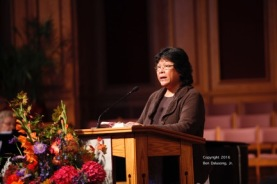 Jeanine Linder reading scripture.