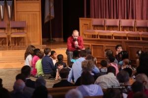 Tim Hill telling children's story.