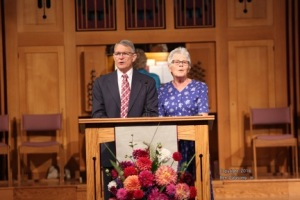 Jim and Vivian Robertson leading praise service