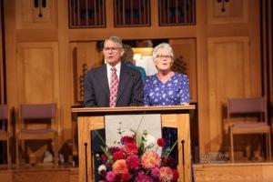 Jim and Vivian Robertson leading praise service