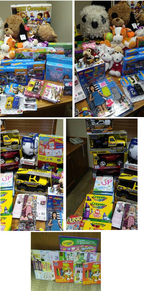 Toys collected for Cherrypark Elementary students. Thank you for your generosity!